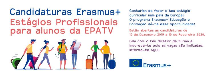 Candidaturas Erasmus+ Estágios Profissionais para alunos 2019-2020