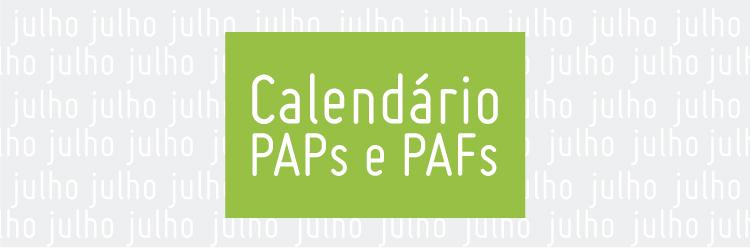 Calendário PAPs e PAFs